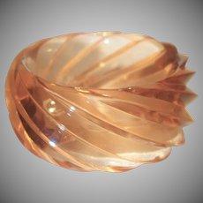 Vintage HUGE Spiral Transparent Peach Lucite Bangle Bracelet