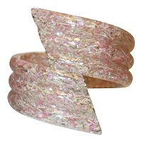 Vintage Ribbed Pink Confetti Lucite Bypass Bracelet