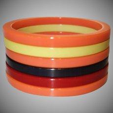 Set of Six Sliced Bakelite Bangle Bracelets