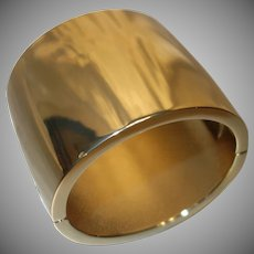 BOLD Extra WIDE Gold Tone Metal Hinge Bracelet by Kenneth J. Lane