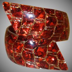 Vibrant Red Confetti Lucite Bypass Bracelet