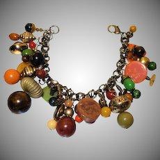 Vintage Loaded Bakelite Charm Bracelet