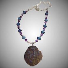 Blue Cobalt Aura Quartz Mini Geode Necklace