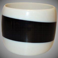 Extra WIDE Black and Off-White Resin Bangle Bracelet