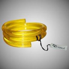 Vintage Transparent Yellow Lucite Triple Coil Bracelet with Original Tag by Rostei