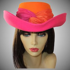 Vintage Whittall and Shon Bright Pink and Orange 100% Wool Hat