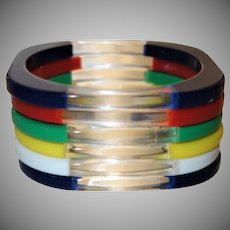 Six Vintage Opaque and Clear Stackable Lucite Bangle Bracelets