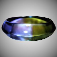 Vintage Watercolor Saucer-Shaped Lucite Bangle Bracelet