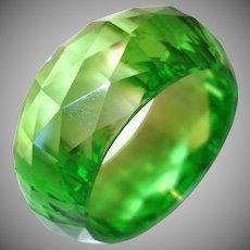 Vibrant Wide Faceted Bright Green Resin Bangle Bracelet