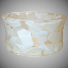 Clear Resin Concave Bangle with Embedded Mother of Pearl