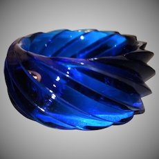 Vintage HUGE Transparent Blue Lucite Bangle Bracelet Made in Western Germany