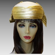 Vintage White Straw and Gold Lame`Pillbox Hat by Bellini New York