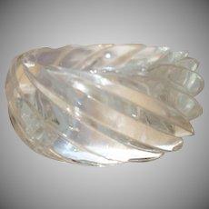 Vintage HUGE Molded Spiral Clear Lucite Bangle Bracelet Made in Western Germany