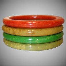 Set of Four Bakelite Tube Bangle Bracelets