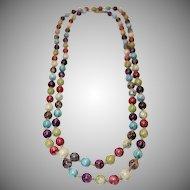 Vintage Extra Long Single Strand Venetian Glass Beaded Necklace