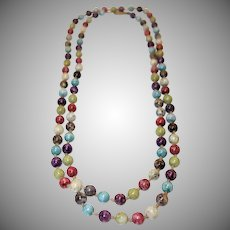 Vintage Extra Long Single Strand Venetian Glass Beaded Necklace