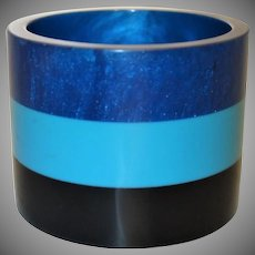 Extra WIDE Blue and Black Striped Sliced Resin Bangle Bracelet