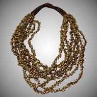 Vintage Eight Strand Chunky Boho Beaded Necklace