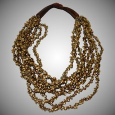 Vintage Eight Strand Chunky Boho Beaded Necklace