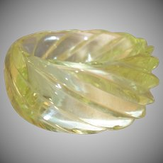 HUGE Molded Transparent Light Yellow Spiral Lucite Bangle Bracelet