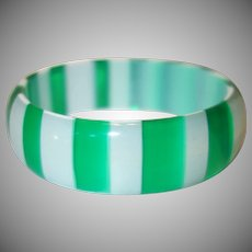 Vintage Transparent Green and White Striped Lucite Bangle Bracelet