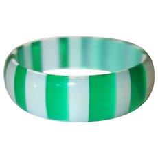 Vintage Transparent Green and White Striped Lucite Bangle Bracelet