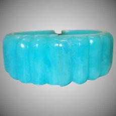 Vintage Ribbed Turquoise Lucite Hinge Clamper Bracelet