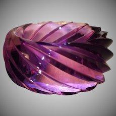 HUGE Transparent Purple Spiral Lucite Bangle Bracelet Made in Western Germany