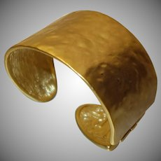 Hammered Gold Tone Metal Hinged Cuff Bracelet by KJL