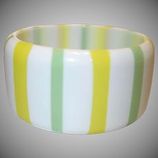 Vintage WIDE Green and Yellow Striped Lucite Bangle Bracelet