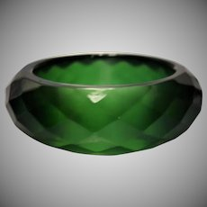 Green Faceted Lucite Bangle Bracelet