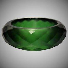 Green Faceted Lucite Bangle Bracelet