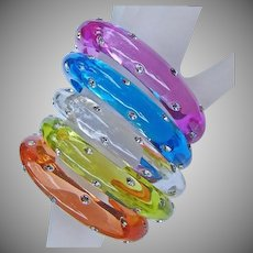 Set of Five Transparent Lucite Bangle Bracelets with Embedded Rhinestones