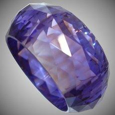 Vintage WIDE Faceted Purple Resin Bangle Bracelet