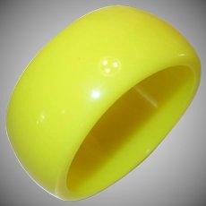 Vintage Wide Bright Yellow Lucite Bangle Bracelet