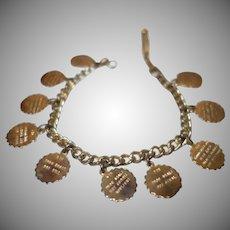 Vintage Gold Tone Metal Ten Commandments Charm Bracelet for Small Wrist