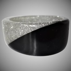 Vintage Asymmetrical Black and Clear Glitter Lucite Bracelet