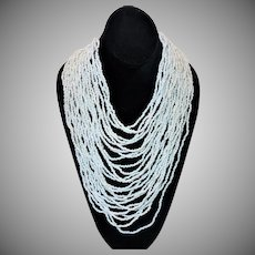 Vintage Dramatic White Seed Bead Bib Necklace