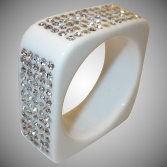 Vintage Square White Lucite Bracelet with Embedded Rhinestones