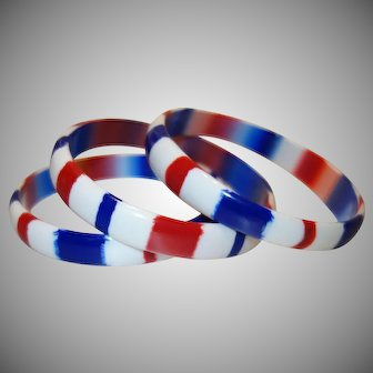 Three Red White and Blue Laminated Lucite Bangle Bracelets
