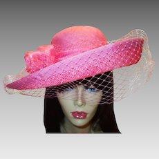 Vintage Structured Pink Straw Hat by Georgi