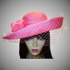 Vintage Structured Pink Straw Hat by Georgi