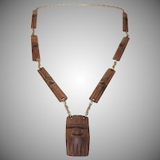 Vintage Carved Wooden Tribal Necklace