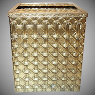 Vintage Gold Tone Metal Basketweave Tissue Holder