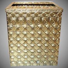 Vintage Gold Tone Metal Basketweave Tissue Holder