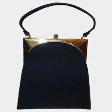 f82347e1bbca Vintage 1950 s Sleek Deco-Style Black Wool Purse by Mel-Ton. Vintage Vault