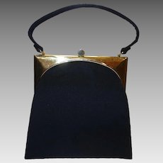 Vintage 1950's Sleek Deco-Style Black Wool Purse by Mel-Ton