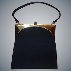Vintage 1950's Sleek Deco-Style Black Wool Purse by Mel-Ton