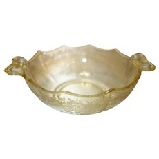 """Fostoria Topaz Yellow """"June"""" Etched Glass Whipped Cream Bowl"""