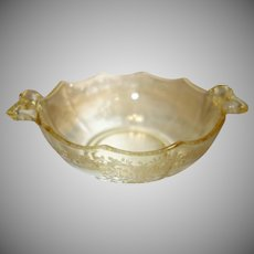 "Fostoria Topaz Yellow Etched Glass Whipped Cream Bowl in the ""June"" Pattern"